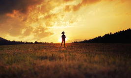 Silhueta da criança feliz que joga no prado no por do sol Fotos de Stock Royalty Free