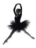 Silhueta da dança do dançarino de bailado da bailarina da jovem mulher Foto de Stock
