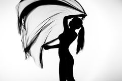 Silhueta da dança da mulher com tela transparente no preto e