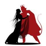Silhueta da dança romântica do diabo com uma senhora Dança de Dia das Bruxas ilustração do vetor