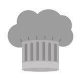 Silhueta da escala cinzenta do chapéu dos cozinheiros chefe com detalhes ilustração stock