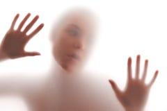 Silhueta da fêmea no branco fotografia de stock royalty free