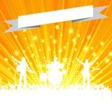 Silhueta da faixa da música com a bandeira na explosão da estrela Imagens de Stock