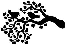 Silhueta da filial com pássaros Fotografia de Stock Royalty Free