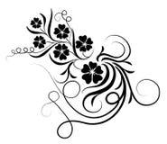 Silhueta da flor e das videiras Foto de Stock Royalty Free