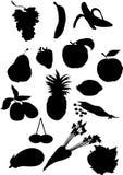 Silhueta da fruta e verdura Fotografia de Stock Royalty Free