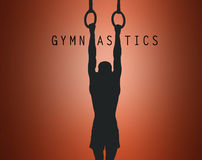 A silhueta da ginasta em anéis estacionários Fotos de Stock