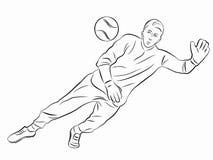 Silhueta da goleiros do futebol, tração do vetor Foto de Stock Royalty Free