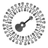 Silhueta da guitarra acústica Foto de Stock Royalty Free