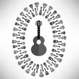Silhueta da guitarra acústica Fotografia de Stock