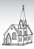 Silhueta da igreja Imagens de Stock Royalty Free