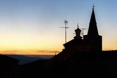 Silhueta da igreja no céu Imagem de Stock