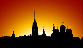 Silhueta da igreja ortodoxa do russo Imagem de Stock Royalty Free
