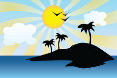 Silhueta da ilha ensolarada Foto de Stock