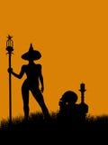 Silhueta da ilustração de Halloween Imagens de Stock