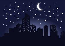 Silhueta da imagem escura do vetor da paisagem da noite das construções da cidade ilustração stock