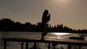 Silhueta da ioga praticando da mulher na natureza video estoque