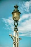 Silhueta da lâmpada de rua contra o céu Fotos de Stock