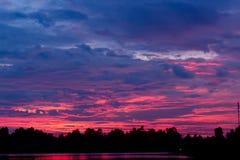 Silhueta da lagoa com a sombra selvagem no tempo do twillight Imagem de Stock Royalty Free