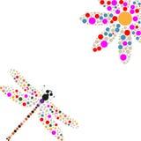 Silhueta da libélula e da flor Fotografia de Stock Royalty Free