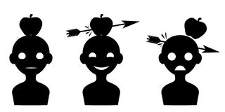 Silhueta da maçã visada na cabeça Imagem de Stock