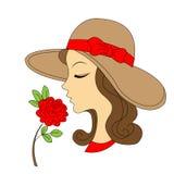 A silhueta da menina da beleza com levantou-se Ilustra??o do vetor do vintage ilustração royalty free