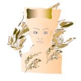 Silhueta da menina com uma cara ilustração royalty free