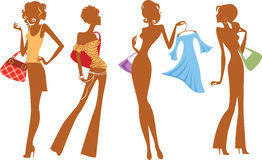 Silhueta da menina da forma com sacos e vestido Imagens de Stock