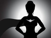 Silhueta da menina do super-herói Fotografia de Stock Royalty Free