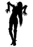 Silhueta da menina do zombi ilustração stock