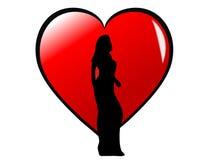 Silhueta da menina em um coração ilustração do vetor