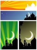 Silhueta da mesquita Fotos de Stock Royalty Free