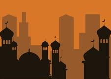 Silhueta da mesquita Imagens de Stock
