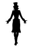 Silhueta da mulher do chapéu ilustração stock