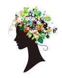 Silhueta da mulher, floral Fotos de Stock Royalty Free