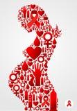 Silhueta da mulher gravida com ícones do AIDS ilustração royalty free