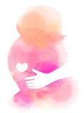 Silhueta da mulher gravida mais a aquarela abstrata Twirl vermelho de Digitas art Fotografia de Stock