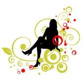 Silhueta da mulher preta Fotos de Stock