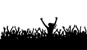 Silhueta da multidão do aplauso, pessoa alegre Concerto, partido Cheering engraçado, vetor isolado Foto de Stock Royalty Free