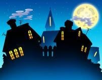 Silhueta da noite da skyline da vila ilustração do vetor