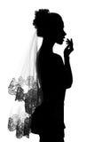 Silhueta da noiva da menina. Fotografia de Stock