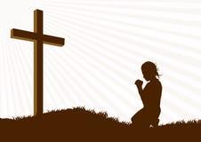 Silhueta da oração ilustração stock