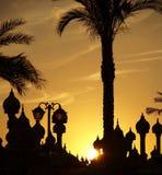 silhueta da Palma-árvore e da cúpula Fotos de Stock