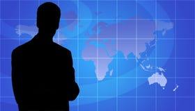 Silhueta da pessoa do negócio, fundo do mapa de mundo ilustração do vetor