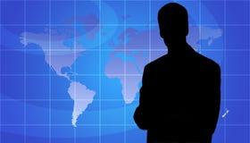 Silhueta da pessoa do negócio, fundo do mapa de mundo ilustração royalty free