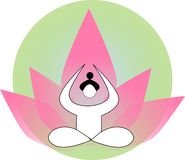 Silhueta da pessoa da ioga ilustração stock