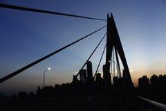 Silhueta da ponte fotografia de stock royalty free