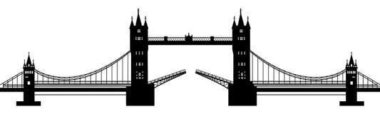 Silhueta da ponte levadiça Fotos de Stock Royalty Free