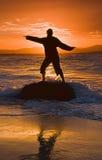 Silhueta da praia Imagens de Stock Royalty Free