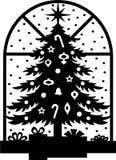 Silhueta da árvore de Natal Fotografia de Stock Royalty Free